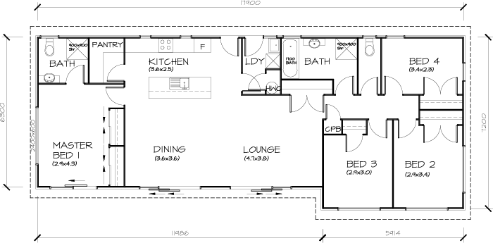 PLB122 4 Bedroom Transportable Homes House Plan