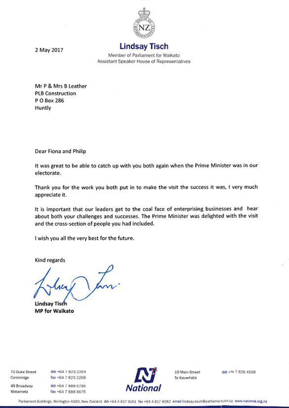 Waikato MP Lindsay Tisch letter of thanks